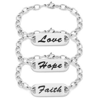 Stainless Steel Inspirational Hope, Faith or Love ID Bracelet