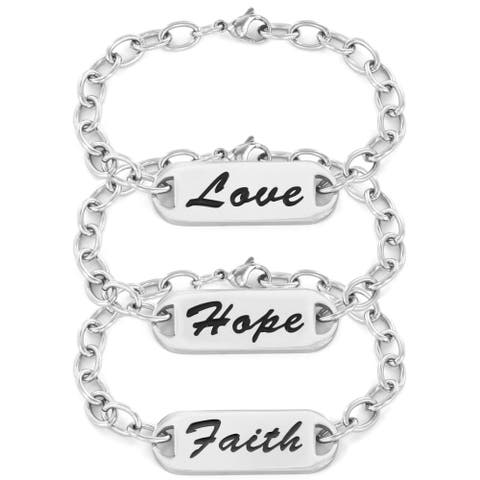 Stainless Steel Inspirational Hope, Faith or Love ID Bracelet