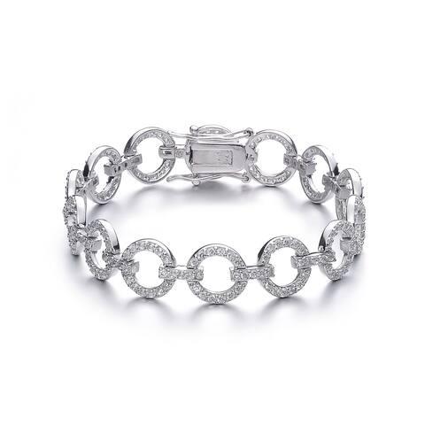 Collette Z Sterling Silver Cubic Zirconia Circle Link Bracelet