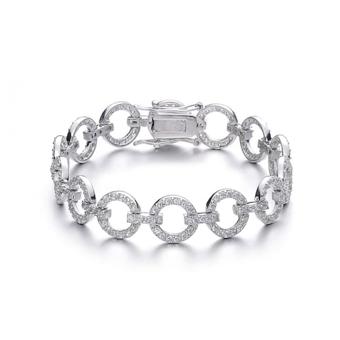 Collette Z Sterling Silver Cubic Zirconia Circle Link Bracelet