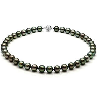 DaVonna 14k White Gold Black Tahitian Pearl 18-inch Necklace (10-12 mm)
