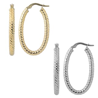 Fremada 10k Gold Diamond Cut Oval Hoop Earrings