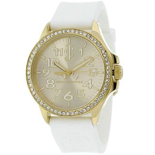 Juicy Couture Women's 1900966 Jetsetter Goldtone/ White Silicone Watch|https://ak1.ostkcdn.com/images/products/9346436/P16540023.jpg?impolicy=medium
