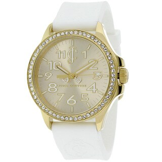 Juicy Couture Women's 1900966 Jetsetter Goldtone/ White Silicone Watch