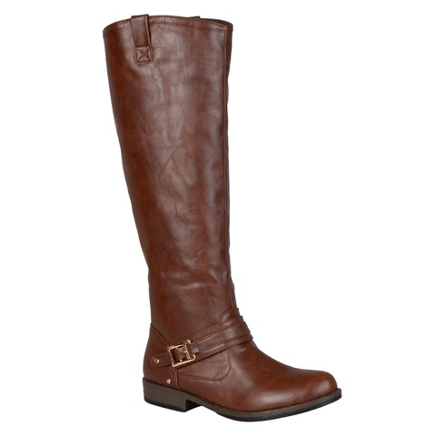 Journee Collection Women's 'Kai' Regular and Wide-calf Ankle-strap Square-Buckle Riding Boot