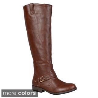Journee Collection Women's 'Kai' Regular and Wide-calf Ankle-strap Square-Buckle Riding Boot https://ak1.ostkcdn.com/images/products/9346460/P16539999.jpg?impolicy=medium