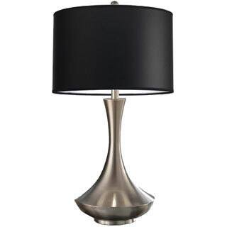 Artiva USA Aladdin Contemporary 30-inch Brushed Steel Compact Fluorescent Table Lamp with Black Shade|https://ak1.ostkcdn.com/images/products/9346463/P16539994.jpg?impolicy=medium