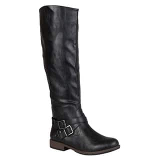 Journee Collection Women's 'April' Ankle Buckle Knee-high Riding Boot|https://ak1.ostkcdn.com/images/products/9346470/P16540000.jpg?impolicy=medium