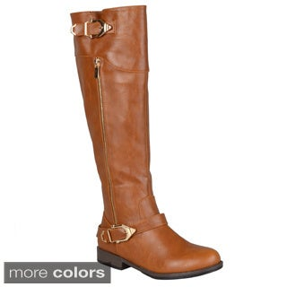 Journee Collection Women's 'Barb' Regular and Wide-calf Side-zipper Buckle Riding Boot