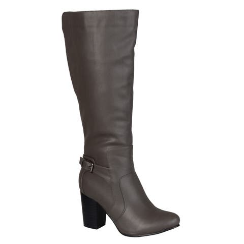 Journee Collection Women's 'Carver' Regular and Wide-calf Buckle Detail High-heeled Boot