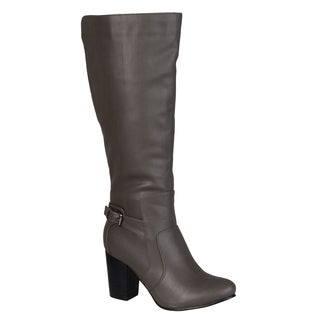 Journee Collection Women's Carver Regular and Wide-calf Buckle Detail High-heeled Boot (More options available)