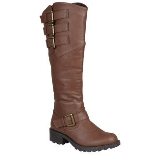Journee Collection Women's 'Fern' Regular and Wide-calf Buckles Ankle-strap Knee-high Riding Boot