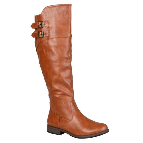 Journee Collection Womens Tori Regular and Wide-calf Double-Buckle Knee-high Riding Boot