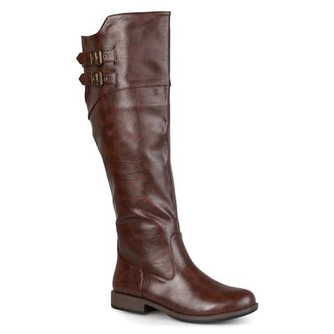 Journee Collection Women's 'Tori' Regular and Wide-calf Double-Buckle Knee-high Riding Boot