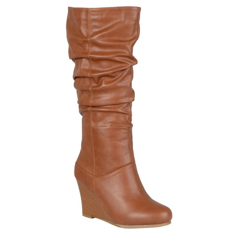 Journee Collection Women's 'Hana' Regular and Wide-calf Slouch Knee-high Wedge Dress Boot