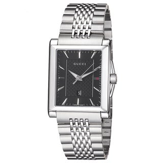 Gucci Men's YA138401 'Timeless' Black Dial Stainless Steel Bracelet Quartz Watch