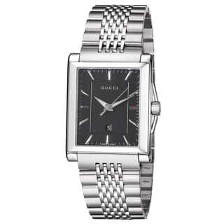 Gucci Men's YA138401 'Timeless' Black Dial Stainless Steel Bracelet Quartz Watch|https://ak1.ostkcdn.com/images/products/9346485/P16540013.jpg?impolicy=medium