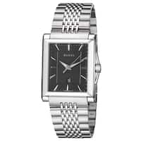 Gucci Men's YA138401 'Timeless' Black Dial Stainless Steel Bracelet Quartz Watch