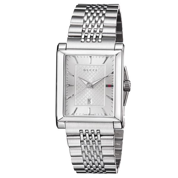 adb87fbafab Shop Gucci Men s YA138403  Timeless  Silver Dial Stainless Steel ...