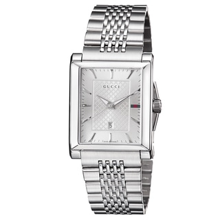Gucci Men's YA138403 'Timeless' Silver Dial Stainless Steel Bracelet Quartz Watch