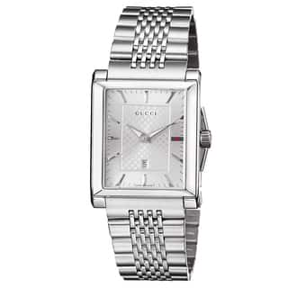 Gucci Men's YA138403 'Timeless' Silver Dial Stainless Steel Bracelet Quartz Watch|https://ak1.ostkcdn.com/images/products/9346487/P16540014.jpg?impolicy=medium