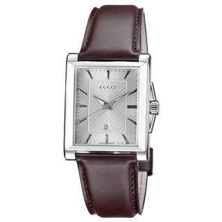 Gucci Men's YA138405 'Timeless' Silver Dial Brown Leather Strap Quartz Watch
