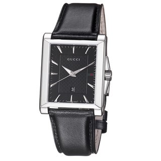 Gucci Men's YA138404 'Timeless' Black Dial Black Leather Strap Quartz Watch