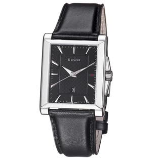 Gucci Men's YA138404 'Timeless' Black Dial Black Leather Strap Quartz Watch|https://ak1.ostkcdn.com/images/products/9346489/P16540016.jpg?impolicy=medium