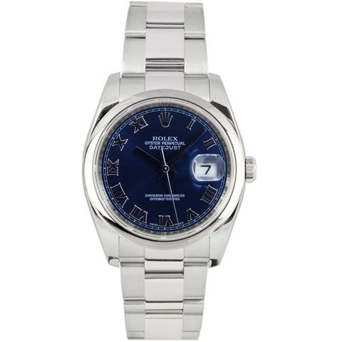 Pre-Owned Rolex Men's Datejust Stainless Steel Oyster Band Blue Dial Watch