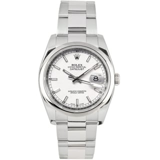 Pre-Owned Rolex Men's Datejust Oyster Band White Index Dial Watch