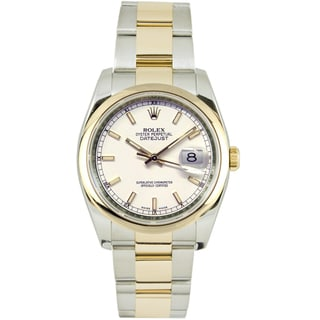 Pre-Owned Rolex Men's Datejust Two-tone Oyster Band White Index Dial Watch