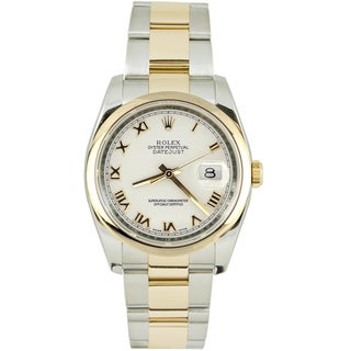 Pre-Owned Rolex Men's Datejust Two-tone Oyster Band White Dial Watch