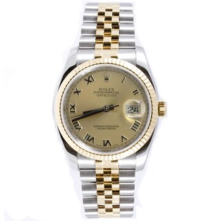 Pre-Owned Rolex Men's Datejust Two-tone Jubilee Band Champagne Dial Watch