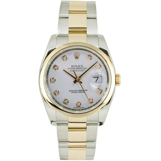 Pre-Owned Rolex Men's Datejust Two-tone Oyster Band White Diamond Dial Watch