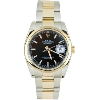 Pre-Owned Rolex Men's Datejust Two-tone Oyster Band Black Dial Watch