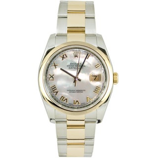 Pre-Owned Rolex Men's Datejust Two-tone Mother Of Pearl Dial Watch