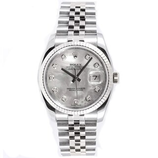 Pre-Owned Rolex Men's Datejust Jubilee Band Mother Of Pearl Diamond Dial Watch