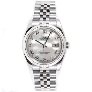 Pre-owned Rolex Men's Datejust Stainless Steel 18k White Gold Band Mother Of Pearl Dial Watch