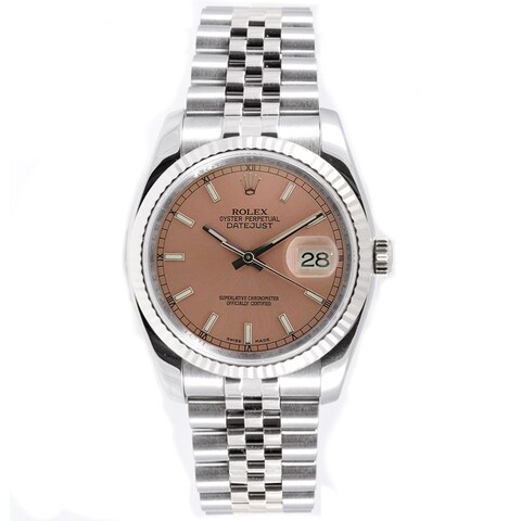 Pre-Owned Rolex Men's Datejust Stainless Steel 18k White Gold Jubilee Rose Index Dial Watch