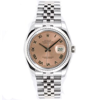 Pre-Owned Rolex Men's Datejust Stainless Steel 18k White Gold Jubilee Salmon Dial Watch