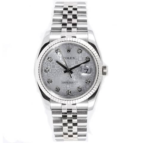 Pre-Owned Rolex Men's Datejust Stainless Steel 18k White Gold Jubilee Band Silver Dial Watch