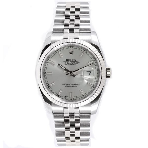 550be609406 Pre-Owned Rolex Men's Datejust Jubilee Band Fluted Bezel Silver Index Dial  Watch
