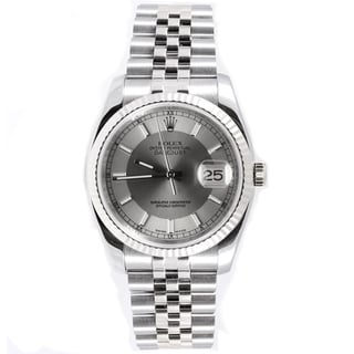 Pre-Owned Rolex Men's Datejust Fluted Bezel Silver Tuxedo Index Dial Watch