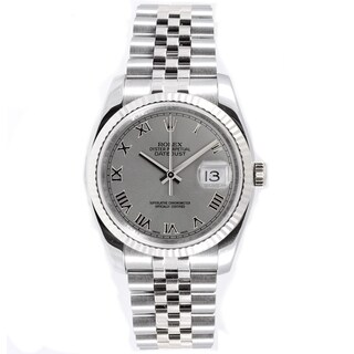 Pre-Owned Rolex Men's Datejust Jubilee Band Fluted Bezel Silver Roman Dial Watch