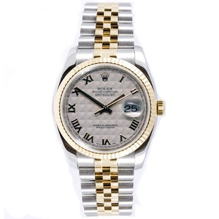 Pre-Owned Rolex Men's Datejust Two-tone Ivory Pyramid Jubilee Automatic Watch