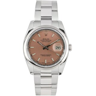 Pre-Owned Rolex Men's Datejust Stainless Steel Pink Dial Automatic Watch