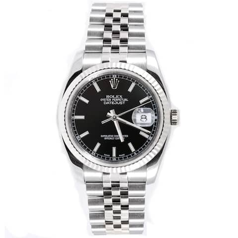 Pre-Owned Rolex Men's Datejust Stainless Steel Jubilee Black Index Dial Watch