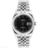 Pre-Owned Rolex Men's Datejust Stainless Steel Black Roman Dial Watch