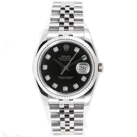 Pre-Owned Rolex Men's Datejust Jubilee Black Diamond Dial Watch