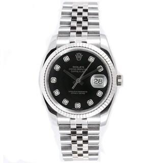 Pre-Owned Rolex Men's Datejust Jubilee Black Diamond Dial Watch